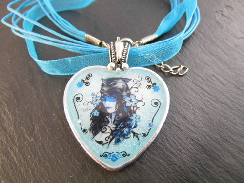 Unikat Nailart Kette BLUE LADY