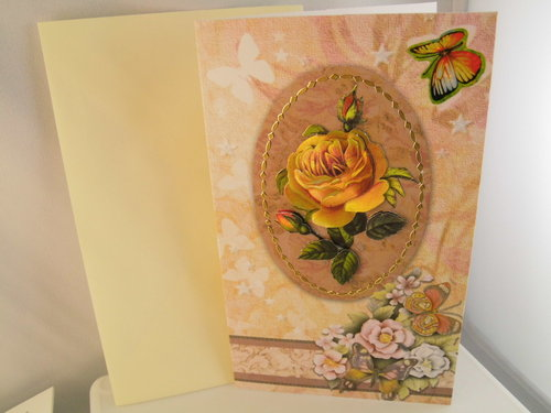 3D Karte Neutral Rose Handmade