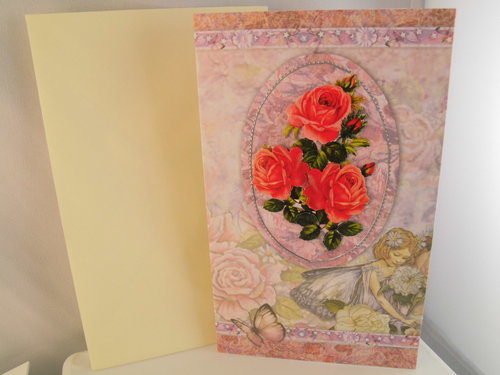3D Karte Neutral Rose Blume Handmade