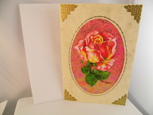 3D Karte Neutral Blumen Rose Handmade