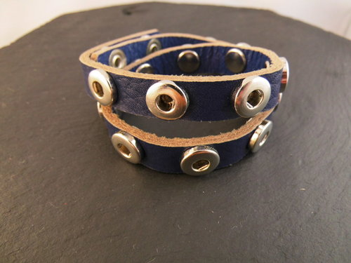 Mini Click Button Wickelarmband blau
