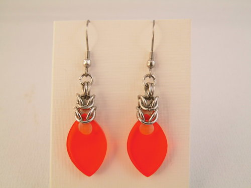 Chainmaille Edelstahl Ohrringe Orange